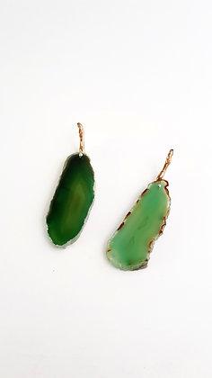 Brinco Seiva - bronze e ágatas verdes