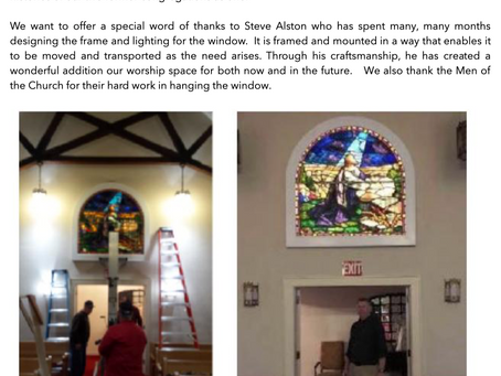 New Stained Glass Window Now Beautifies Our Sanctuary