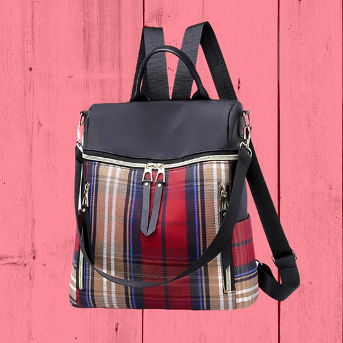 Morgan Backpack -Red and Khaki Plaid
