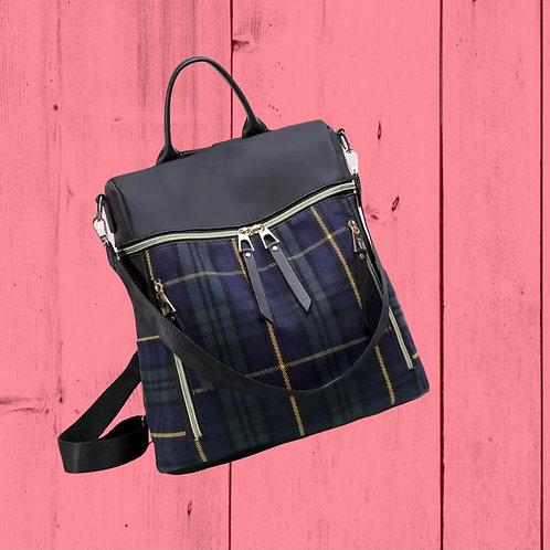 Morgan Backpack - Blue and Green Plaid