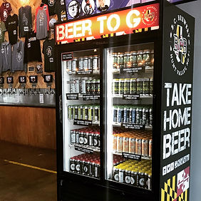 picture of the to go beer fridge fully stocked