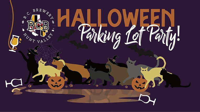 Halloween Parking lot party picture of cats with witch hats on, jackolanterns, spider webs, and a spilled glass of beer