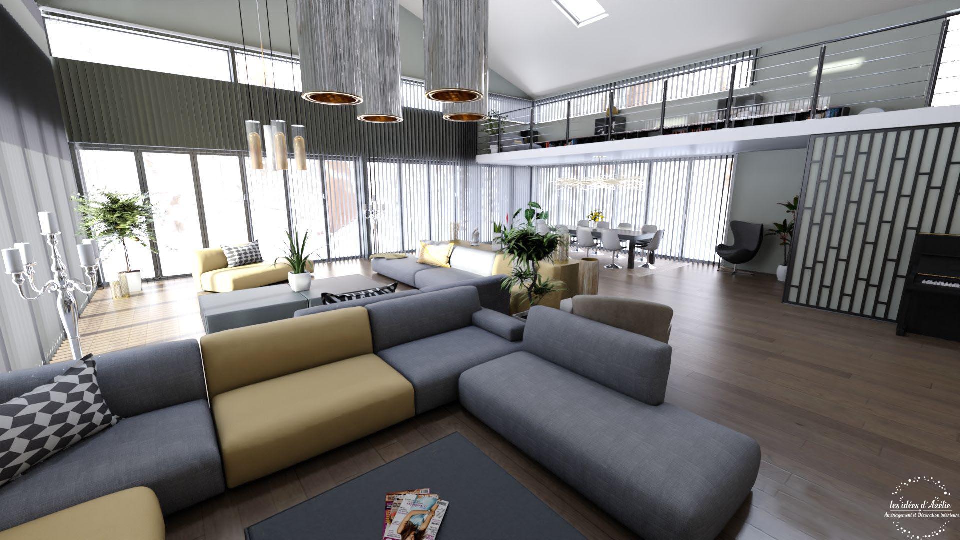 Salon et salle à manger - visuel 3D