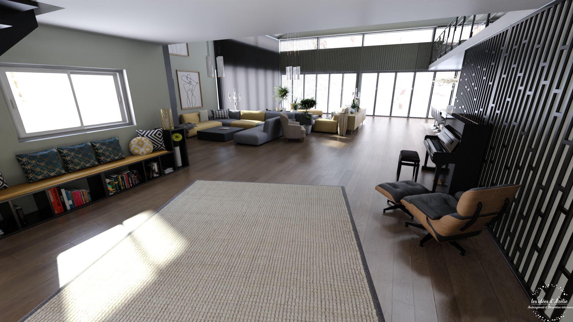Vue du salon depuis le hall - visuel 3D