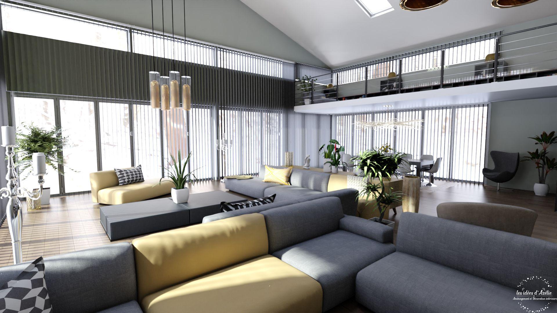 Vue salle à manger depuis le salon - visuel 3D