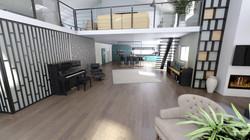 Vue hall et cuisine - visuel 3D