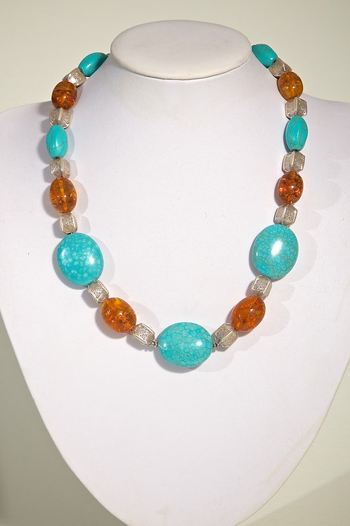 Amber, howlite,silver 509