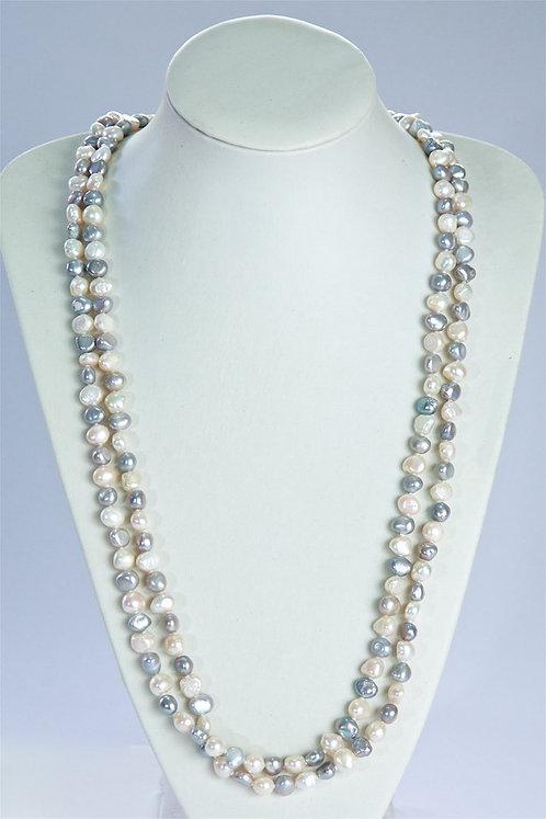 658 Long cream/grey pearls