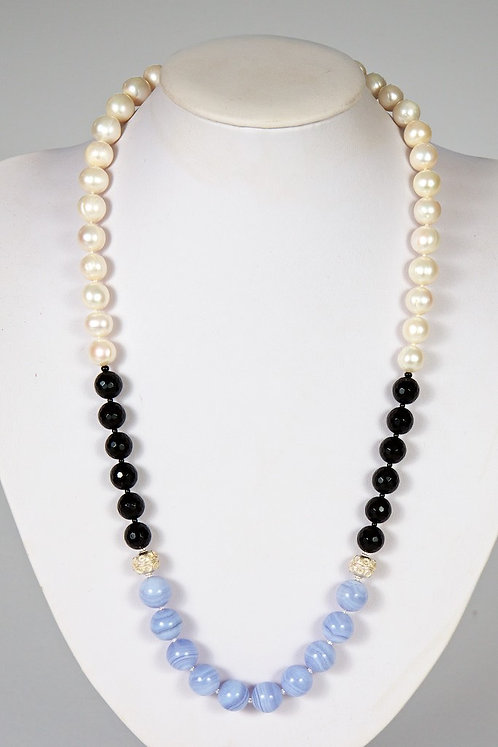 Pearls/agate/silver 583