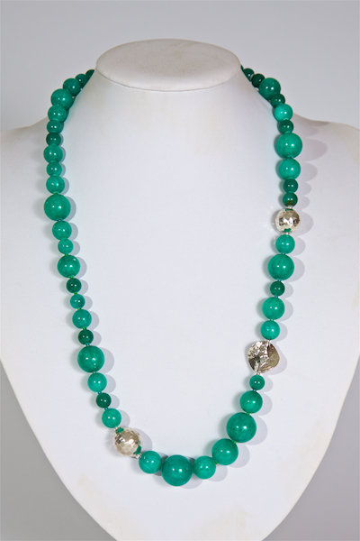 673 Dyed green jade and silver