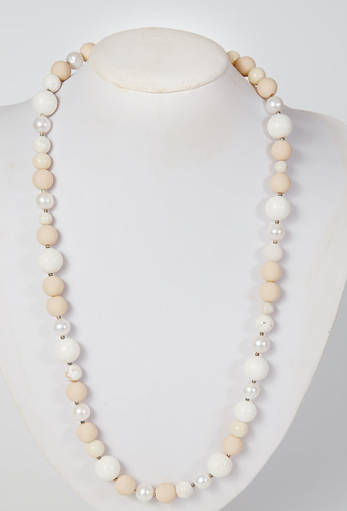 788 - Cream coral with beige beads and pearls