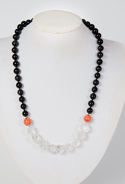 787- Black agate and glass beads