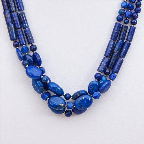 768 -  Triple strand lapis lazuli beads