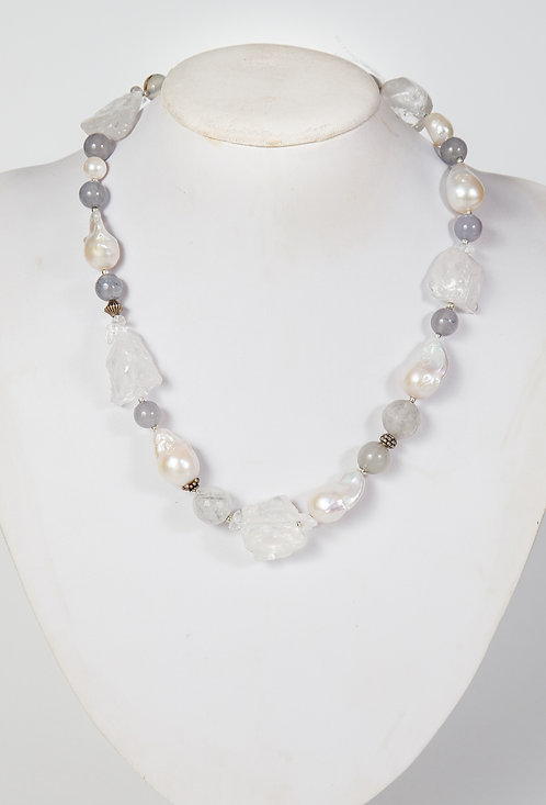 870 - Large Baroque pearls, cloudy crystal, grey jade and silver