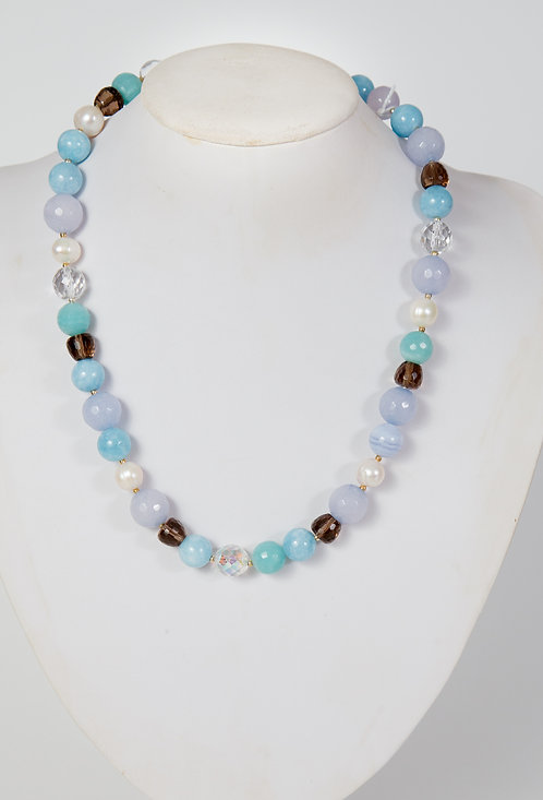 828 - Blue/green agate, crystals, smokey quartz and pearls