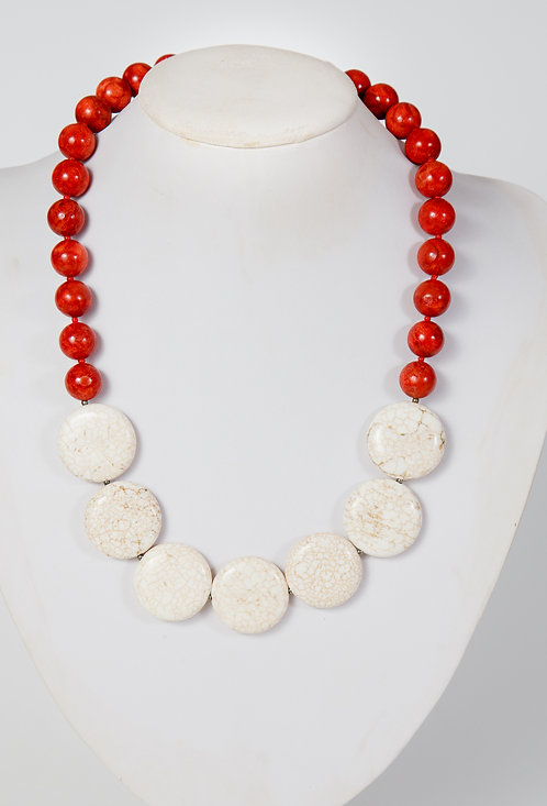 782 - Red coral and cream stone rounds