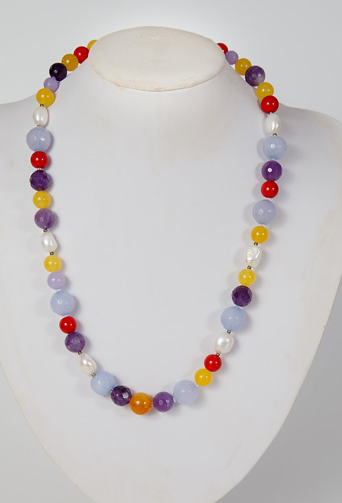 800 - red, lilac and yellow dyed jade  with  pearls