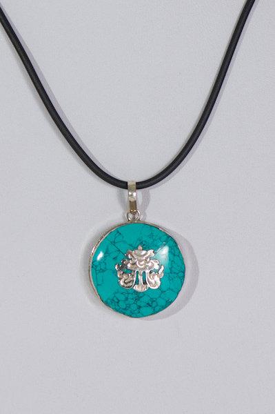 665  Turquoise Chinese pendant