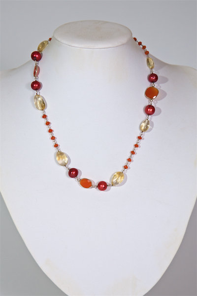 108 - Carnelian, red pearls on chain