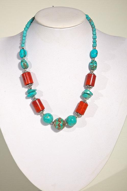 Coral,howlite,silver 512
