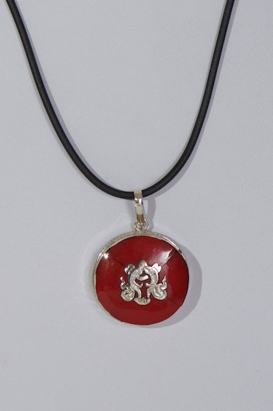 708  Red Chinese pendant on thong