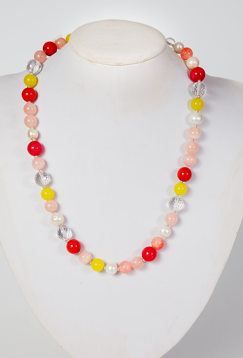 832 - red and yellow agate, crystals and pearls