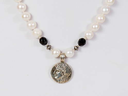 451 -  Pearls with silver coin pendant and black crystals