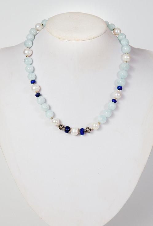 838 - Aquamarine, pearls, lapis and silver