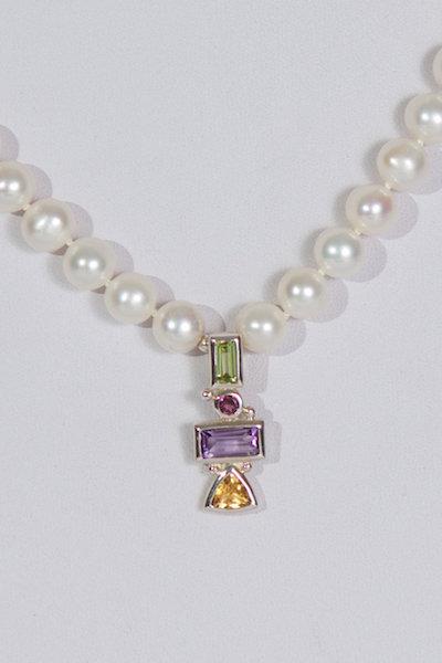 677 Pearls with peridot,citrine,amethyst