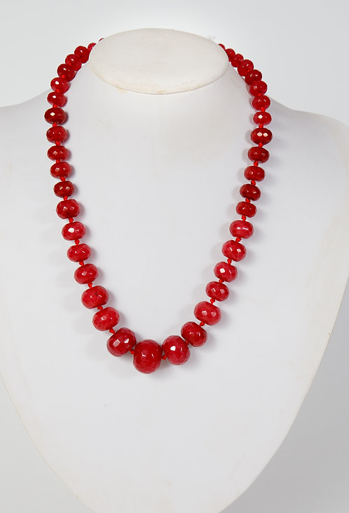 818 -  Dark red dyed jade