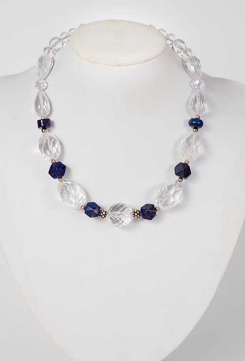 836 -Large facetted crystals with lapis and silver