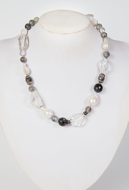 871 - Large Baroque pearls, clear crystal, grey crystals and silver