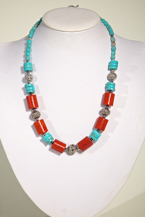 513 - Coral, howlite and silver