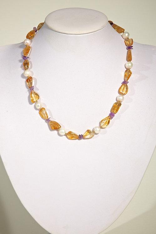 267 - Citrene,pearls,amethyst