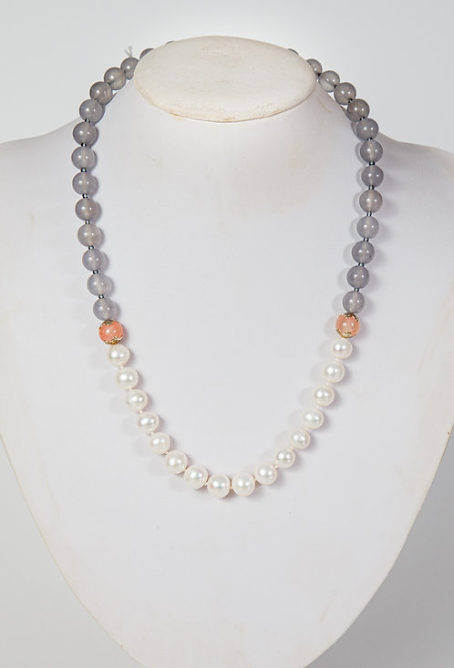 855 - Pearls with grey agate and pink jade