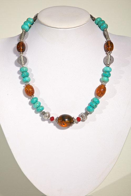 Amber,howlite,coral, 510