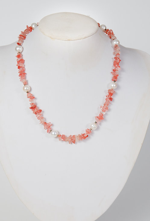 796 - cherry quartz chips with pearls