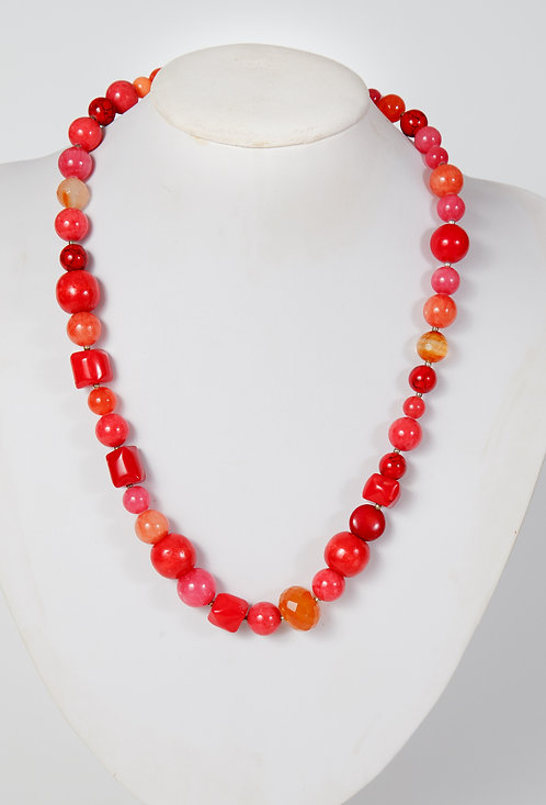 776 - Coral, dyed jade and  carnelian