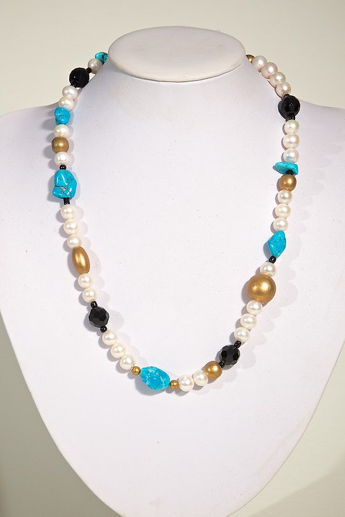 161 Pearls/onyx/turquoise