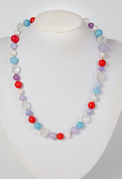 829 - Blue agate, red jade, snow crystals, pearls
