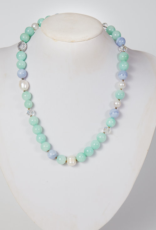 781 - Dyed pale green jade,blue lace agate and pearls