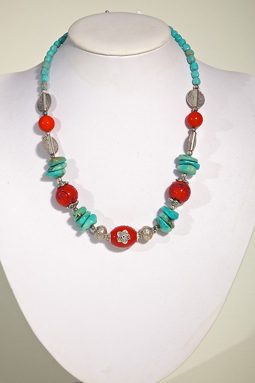 Turquoise,coral,silver 511
