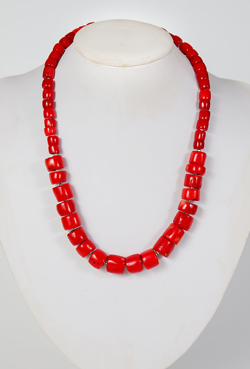863 - Red coral graduated cylinder beads