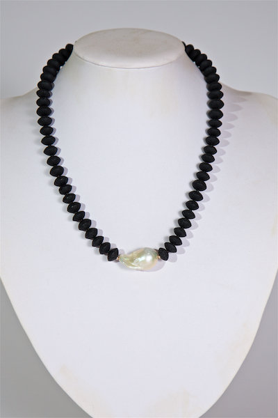 686  Lava beads with baroque pearl