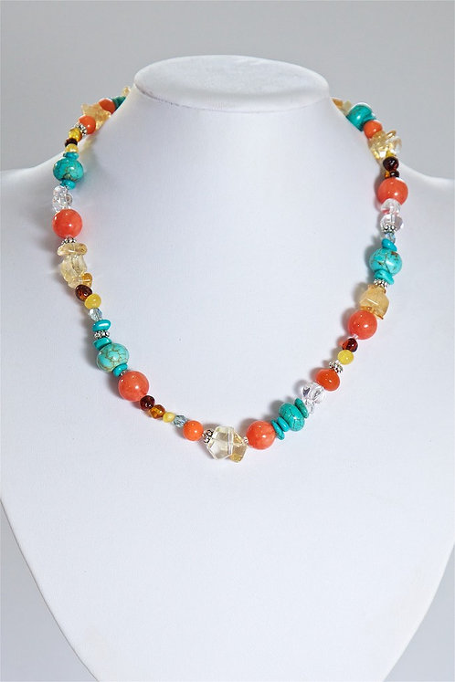 639 Coral, turquoise, howlite