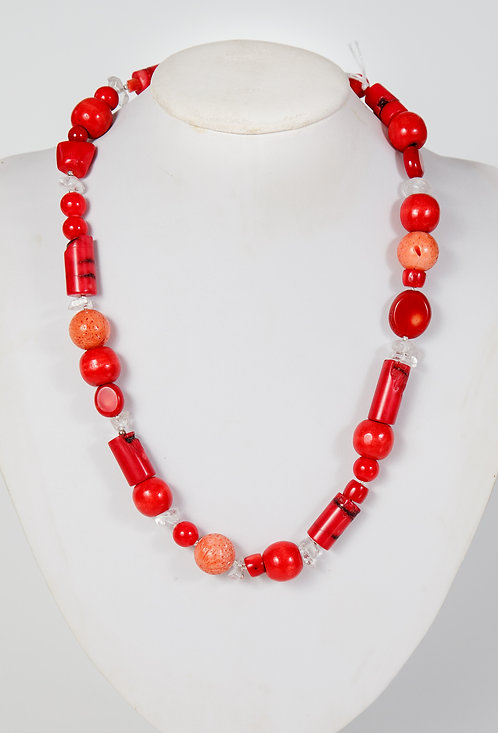 861 - Red coral with crystal and wooden beads