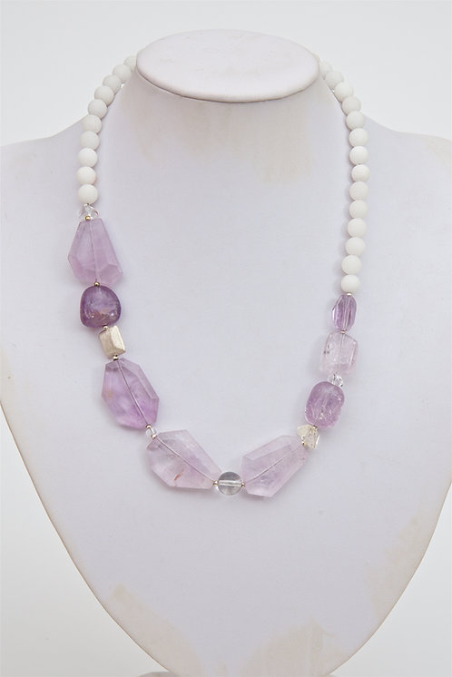 727 -  Flat facetted amethyst, crystals and silver