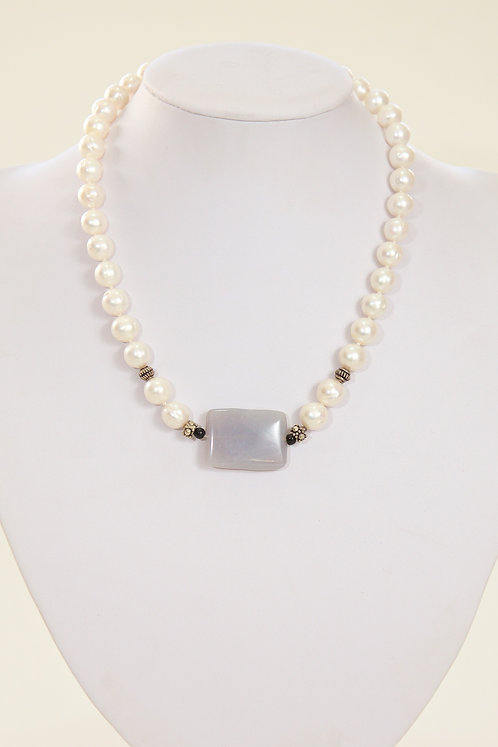 525 - Grey agate and silver