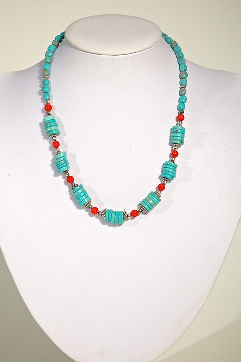 515 - Howlite, coral and silver