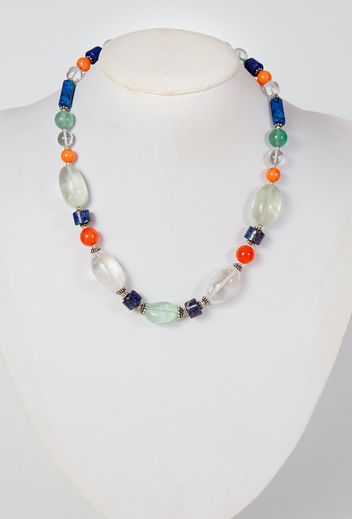 835 - Lapis, agate, quartz, pale green agate centre